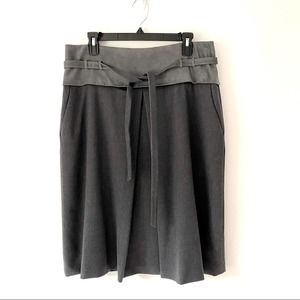 Elie Tahari Wool A-Line Leather Belted Skirt 14